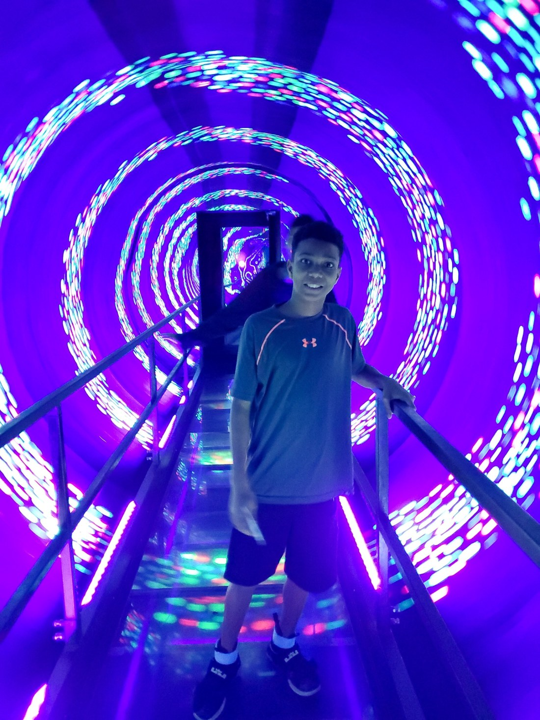 """WonderWorks Light Tunnel. One of the topthings to do in Pigeon Forge, WonderWorks Indoor Amusement park, is one of the bestPigeon Forge Attractions. With over 35,000 square feet of """"edu-tainment,"""" WonderWorks is an amusement park for the mind. Read our full review on the blog."""