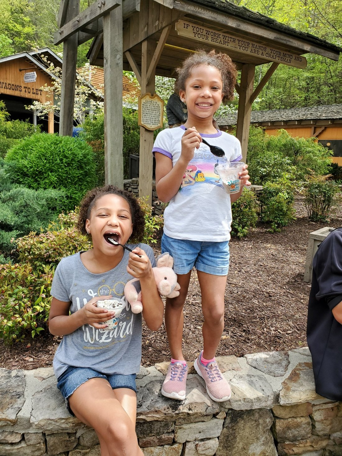 Girls Dippin Dots Dollywood. My family spent the day playing and eating at the Dollywood theme park, and we are happy to report we had a blast! Read all about our trip and learn why Dollwood is a must visit destination while you are in Pigeon Forge, TN.