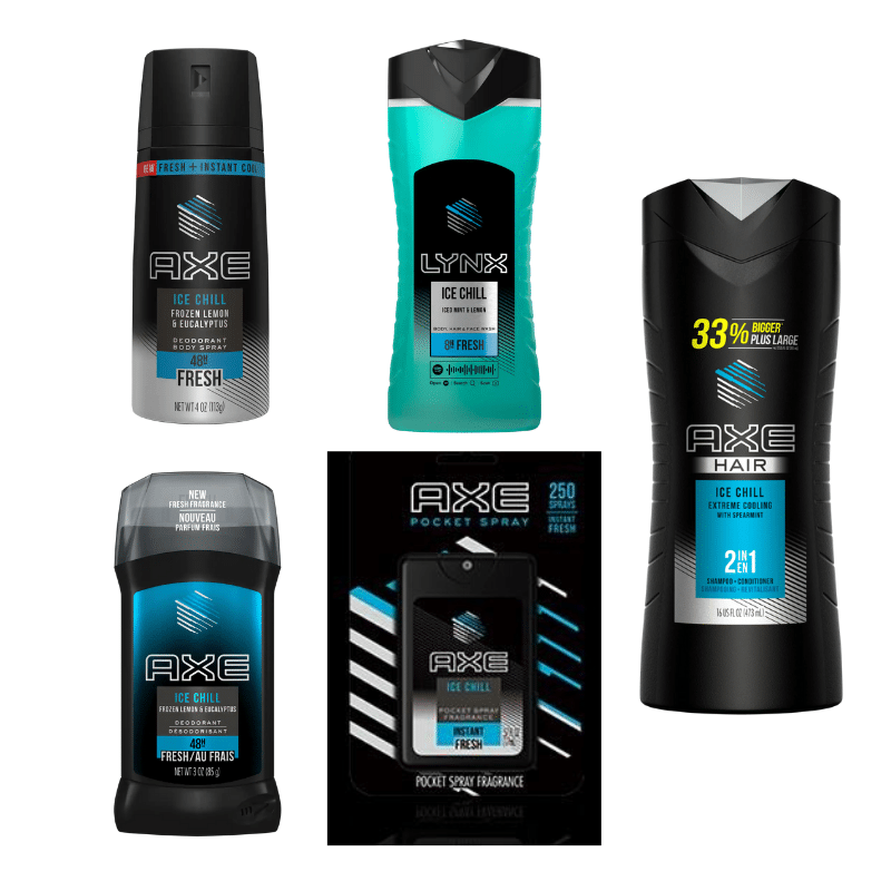 AXE Chill Products. AXE reminds guys that they're hotter when they're chill. The line is available in body spray, antiperspirant deodorant stick, body wash, 2-in-1 shampoo & conditioner, and pocket spray.