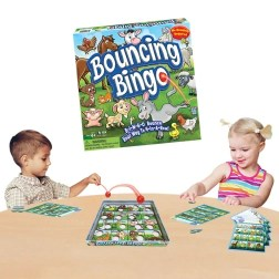 Bouncing Bingo. This is Bingo with a fun twist! One by one players take turns bouncing the special ball into the Bingo platform. When the ball lands in one of the animal spots, you place a chip on your card, on that same animal. The first player to get four chips in a row has bounced their way to a Bingo and wins!