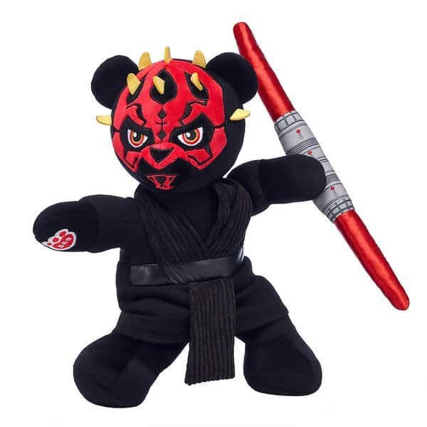Darth Maul™ Bear Gift Bundle. Who knew a Sith Lord™ could be this snuggly? Don't let the fur fool you - Darth Maul™ Bear is still a scheming mastermind in furry friend form! This epic Star Wars™ stuffed animal gift bundle includes Darth Maul™ Bear wielding his signature red lightsaber™ that lights up and makes sound.