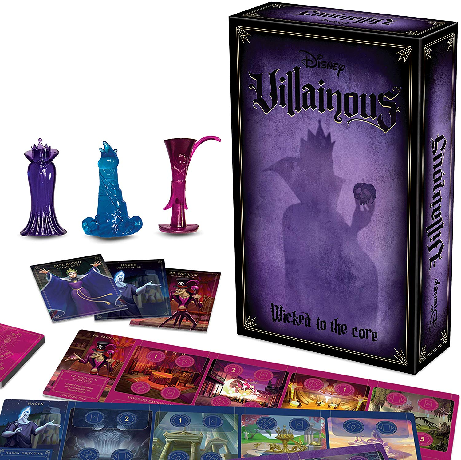 Disney Villianous Wicked To The Core. Take on the role of a Disney villain striving to achieve your devious objective. Discover unique abilities while dealing twists of fate to your opponents! Who will triumph in this contest of sinister power? Great for Disney fans and families - Whether you're playing with a group of devoted Disney fans, classic strategy gamers, or with your family, evil comes prepared is perfect for any game night occasion and makes a great gift for Disney lovers!
