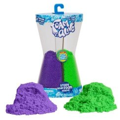 "Double the fun with the Foam Alive Double Flip Pack! It contains two Foam Alive colors - Purple Pulse and Go Go Green in a cool hour-glass shaped reusable storage container. Flip it to flow and watch it go! It magically comes to life! Foam Alive is soft, squishy, fluffy foam that mysteriously moves in ""Flow Motion""."