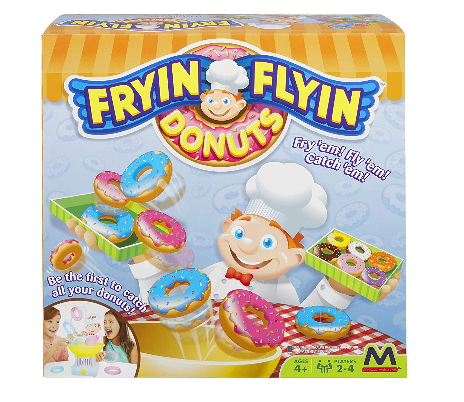 Fryin' Flyin Donuts. FAMILY GAME NIGHT JUST GOT EVEN BETTER! Try and catch all of your donuts in this action packed game of strategy that just might take a little bit of luck too! Be the first player to fry and fly all of your donuts into the Baker's box and you win!