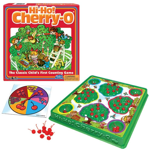 Hi Ho Cherry O Board Game. A classic child's counting game for over 50 years! Children develop and practice math skills like counting, addition and subtraction by picking fruit from their trees to fill their buckets. Ho-Ho and away we go!