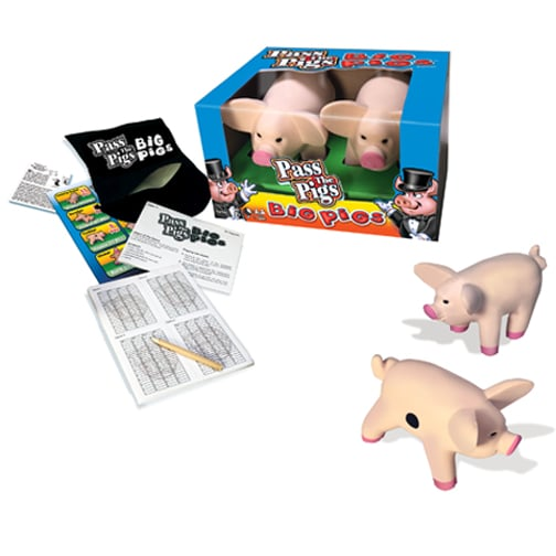 Pass The Pigs: Big Pigs. OBJECT OF THE GAME: Be the first player to score 100 points and win the game! LANDING TRICKY POSES: Once you get comfortable tossing Big Pigs you will discover that throwing them in different ways helps achieve trickier poses. DON'T GET PIGGISH! Roll both big pigs as many times as you dare, scoring for each landed pose. Don't get piggish or run the risk of rolling the pig-dastardly Oinker and having your score wiped out!