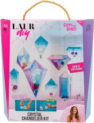 "Rose Art LaurDIY Crystal Chandelier Kit Introducing LaurDIY craft kits inspired by Lauren riihimaki's crafty tutorials, life hacks, and room decor ideas on YouTube. Now you can bring her style home with the LaurDIY crystal chandelier kit! At-home designers fold eight shapes to construct the hanging ""crystals"", decorate them with pom poms and beads, then connect the crystals to form an incredible, iridescent, chandelier. This comprehensive kit includes 8 crystal shapes, 5 hangers, 40 pom poms, 32 iridescent beads, nylon string, a clip and connecting link, and an easy-to-follow guide with step-by-step instructions and images."