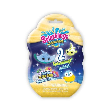 "Splashling Princesses 2 pack Includes A Foil Bag Containing 2 Surprise Splashlings. There is a Chance To Find Ultra Rare Princess Mermaid Crowns. In this series, we discover the identities of each realms' Princesses. An exciting addition to the ever-popular ""Splashlings Ocean Full of Friends."""