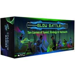 Starlux Games Glow Battle. Use glowing foam swords to battle friends, foes and family. With twenty eight glowing game pieces, the kit is designed for playing 10 organized games such as Gladiators, Knights of Old, Vampires and more!