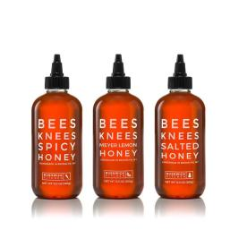 Bees Knees Honey Trio. The ultimate trio for every honey lover! Includes: Bees Knees Spicy Honey, Bees Knees Salted Honey, and Bees Knees Meyer Lemon Honey. Bees Knees Honey Trio is gluten-free and Paleo-friendly.