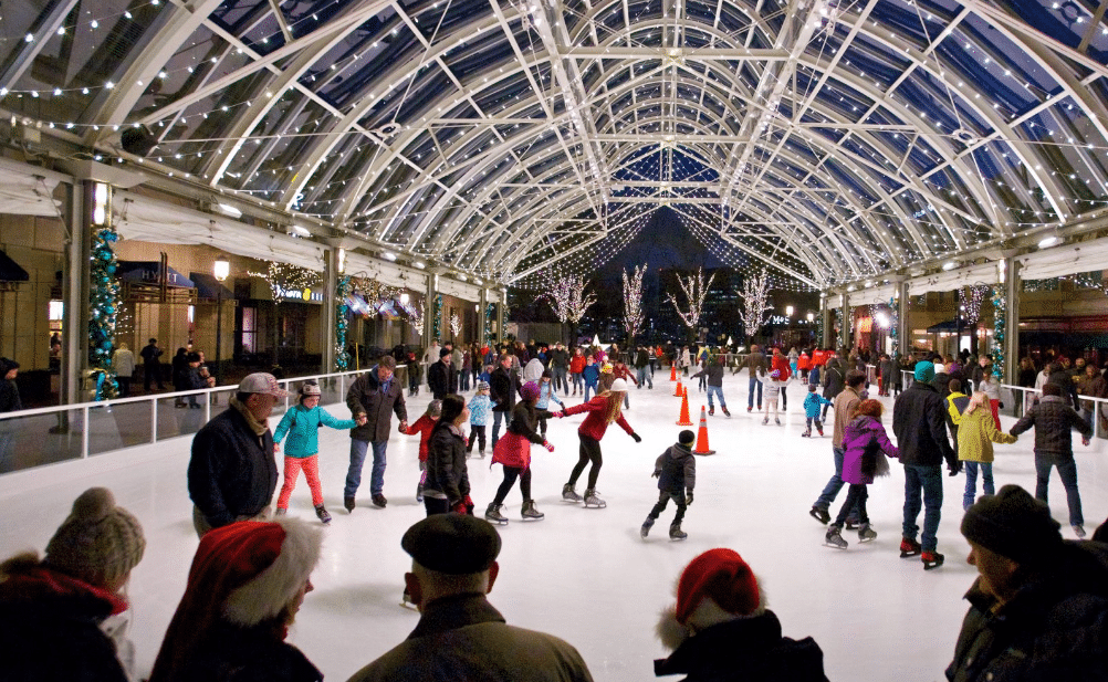 reston town center ice skating pavilion. Reston Town Center offers public skating at the Pavilion daily with extended hours for the Holidays. The skate shop is stocked with over 500 pairs of skates ranging from size 8 toddler through men's size 13, in both Figure and Hockey styles.