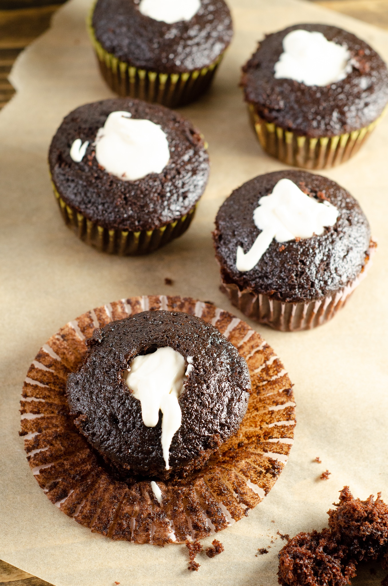Chocolate Cupcakes Marshamallow Creme Filling. Sink your teeth into a childhood favorite cupcake that is as easy to bake as it is to eat. My Chocolate cupcakes with Chocolate Buttercream frosting and marshmallow creme filling will make the kid in you cheer.