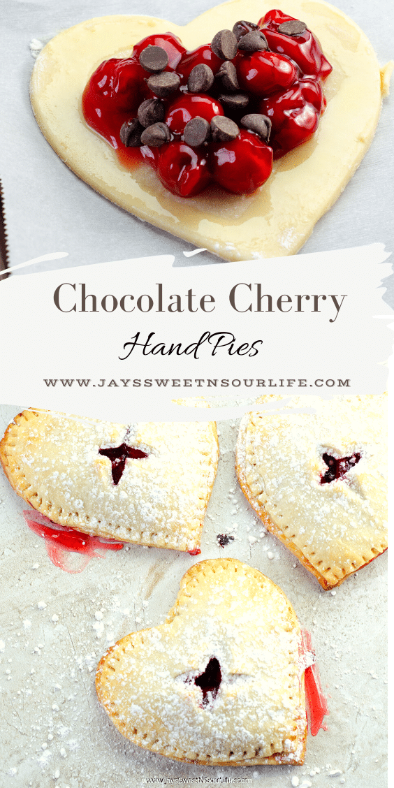 Chocolate Cherry Hand Pies. Made with a from-scratch flaky buttery pie crust that rivals any store-bought brand. My Dark Chocolate Cherry Hand Pies will put a smile on your loved one's face this Valentine's Day. Find the full recipe on my blog at JaysSweetNSourLife.com.