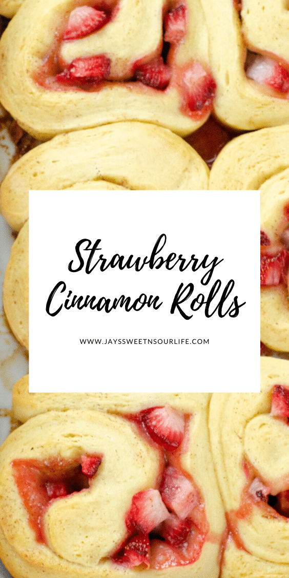 Strawberry Cinnamon Rolls Pin. Freshly baked Strawberry Cinnamon Rolls with Cream Cheese Icing are a delicious breakfast, brunch or weekday treat. Homemade Cinnamon rolls and icing.