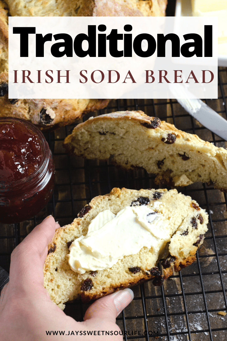 Traditional Irish Soda Bread. This Irish Soda Bread is a traditional quick and easy bread recipe that includes raisins. Also known as a quick bread, It's a no yeast bread recipe that will take over your home with the sweet smell of fresh-baked bread. Bake this Easy Traditional Irish Soda Bread in your favorite cast iron pan and serve with butter or your favorite jam.