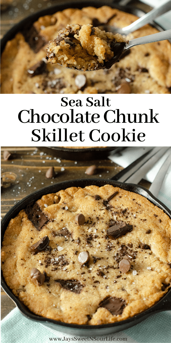 Sea Salt Chocolate Chunk Skillet Cookie (1). This brown butter Sea Salt Chocolate Chunk Skillet Cookie is packed with chunks of chocolate and topped with sea salt, it's the perfect dessert for two. The insanely soft center and crispy buttery edges will have you falling in love with this easy pizookie recipe. This ultimate Sea Salt Chocolate Chip Pizookie is baked in mini cast iron skillets and made with a lot of love and chocolate.