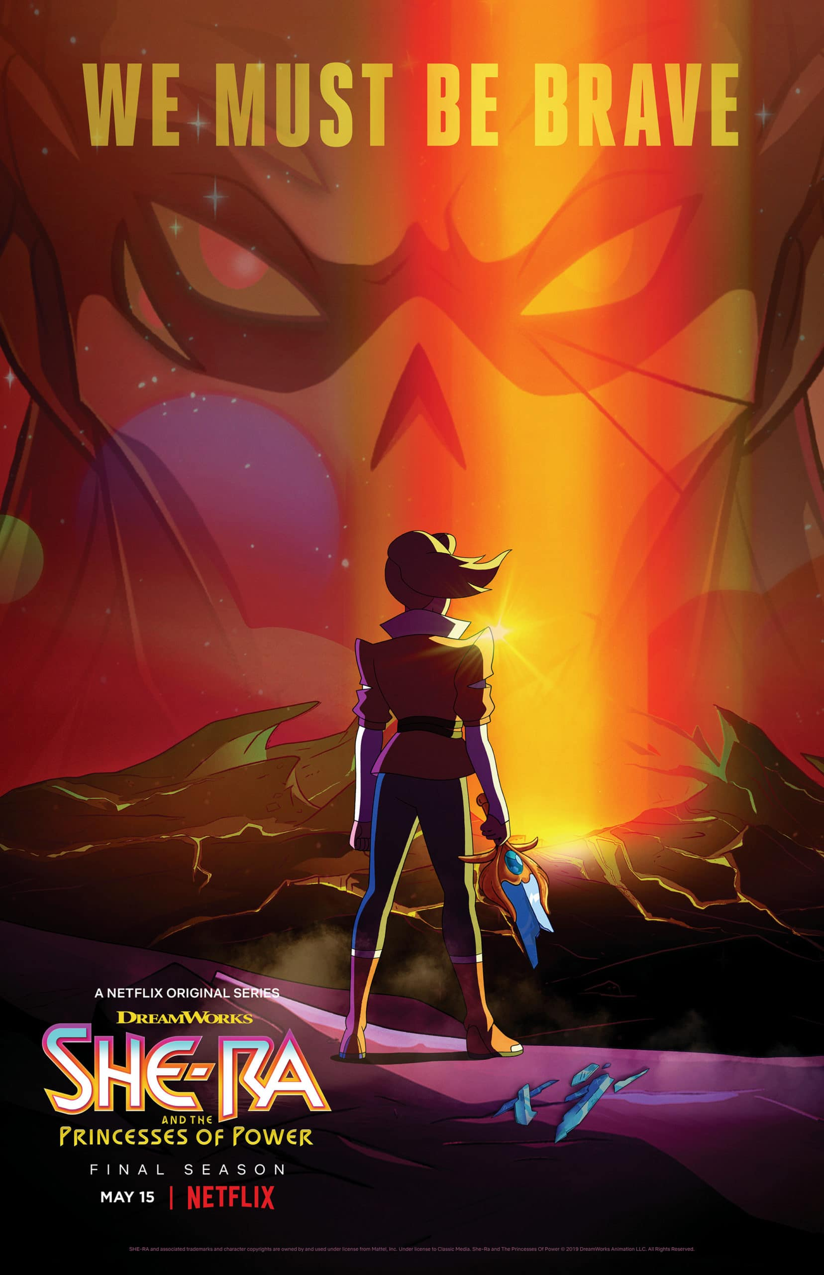 She-Ra and the Princesses of Power Final Season Teaser Poster. In season 5, the ruthless Horde Prime has arrived and without the Sword of Protection and She-Ra, the Rebellion are facing their toughest challenge yet. Available on Netflix May 8th, 2020.