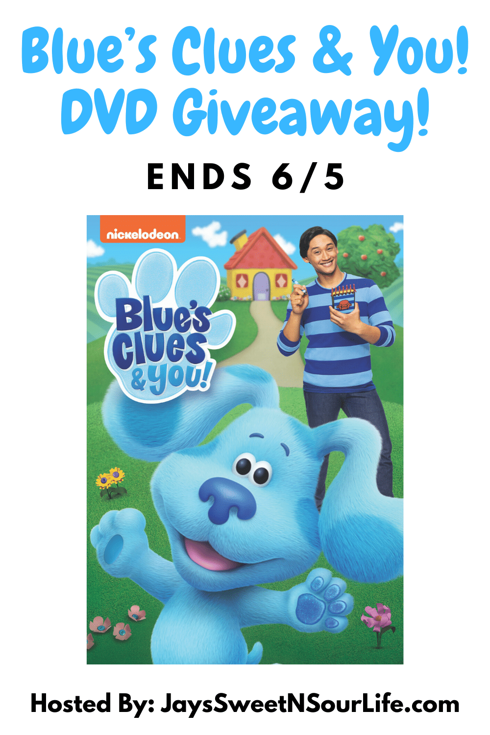 Blues Clues and You DVD Giveaway. Nickelodeon's hit interactive preschool series Blue's Clues & You! will skidoo onto DVD for the first time on June 2 featuring four exciting episodes from the show's debut season. The series follows beloved puppy Blue and live-action host Josh (Josh Dela Cruz) as they invite a new generation of preschoolers on clue-led adventures and solve a puzzle in each episode. Enter to win a free copy of Blue's Clues & You! on my blog today! Giveaway ends 6/5.