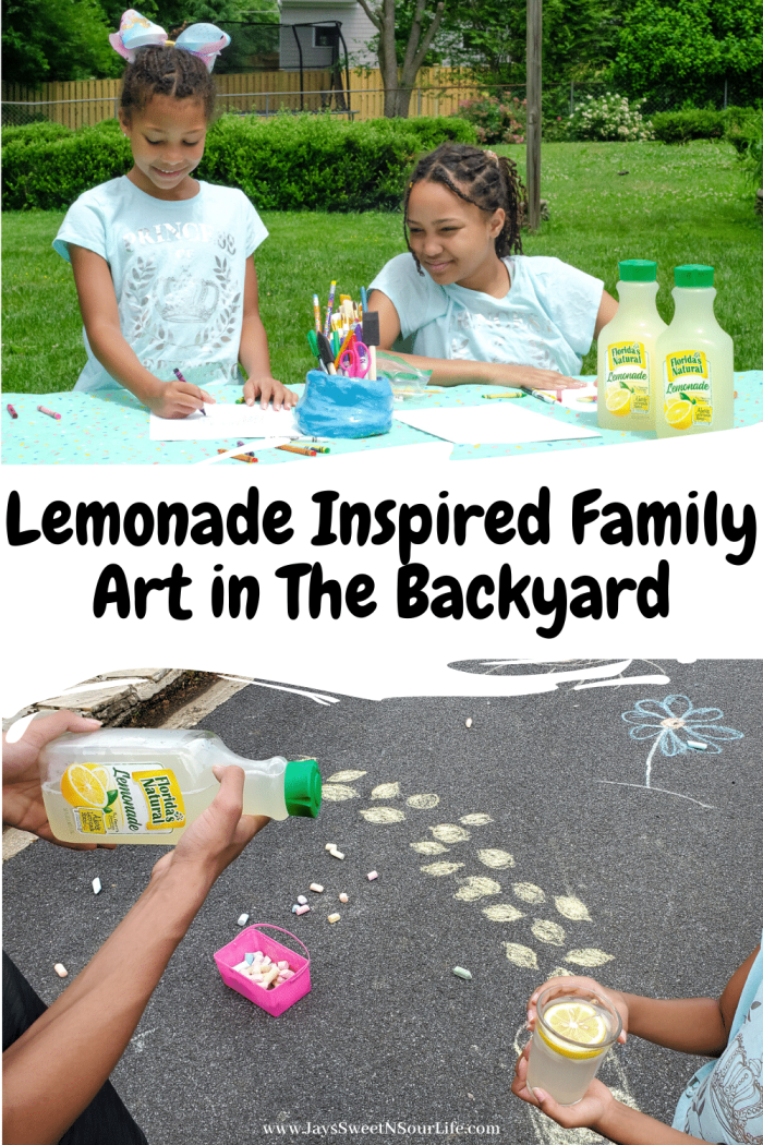 Lemonade Inspired Family Art in The Backyard. Looking for a fun way to keep the kids entertained this summer? Celebrate the start of summer with Lemonade-Inspired Art In the Backyard. The best part of this activity is that you can use what you have on hand in your home. To start, grab those neglected crayons, markers, paint, chalk, and some paper. Then head on over to my blog to see what my kids came up with, and for some lemonade inspiration.
