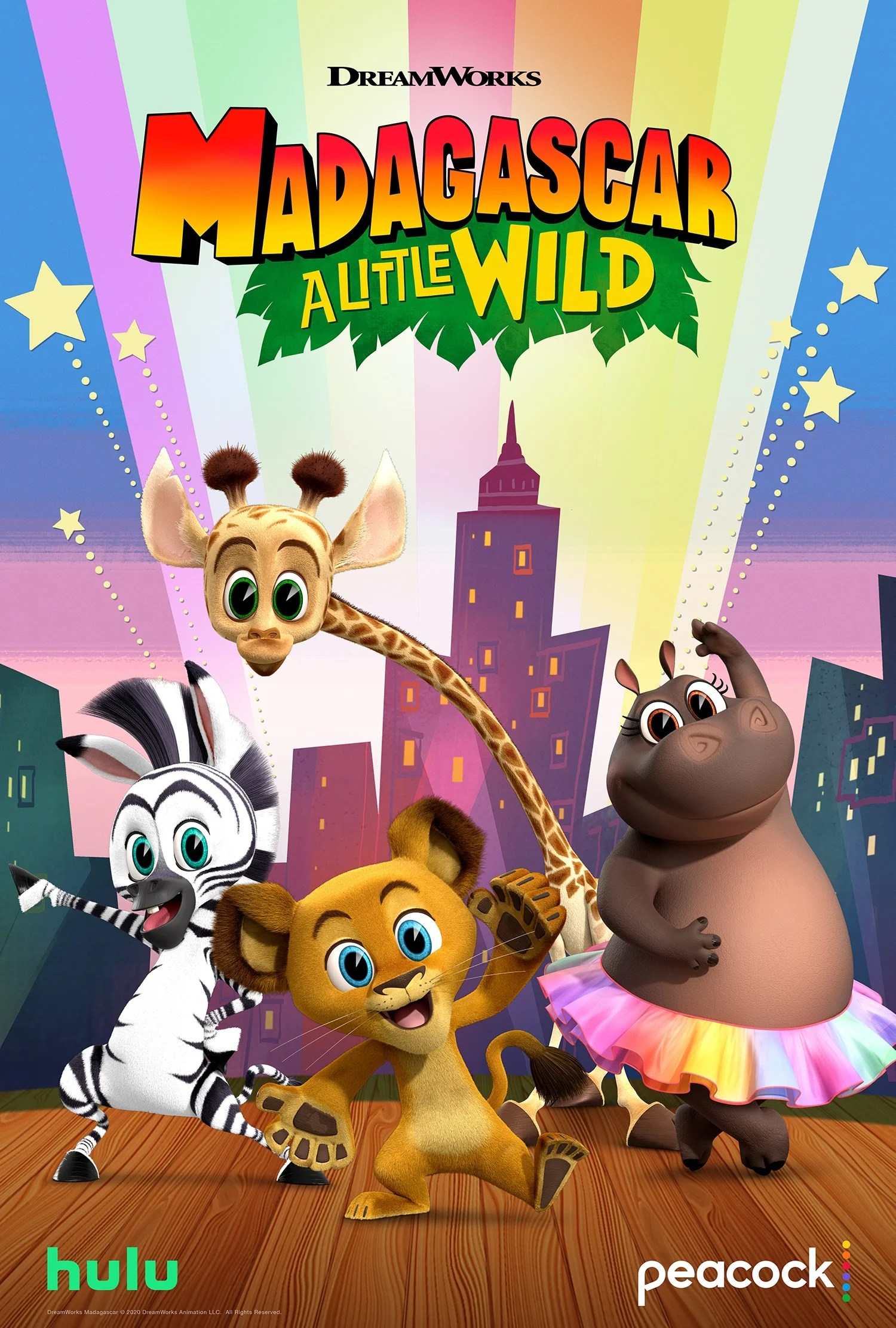 Madagascar A Little Wild. Filled with original music and dance-worthy songs, the lovable foursome Alex the Lion, Marty the Zebra, Melman the Giraffe, and Gloria the Hippo steal the show in Madagascar: A Little Wild. Capturing the iconic personalities of the four dynamos,Madagascar: A Little Wildshowcases the team as kids residing in their rescue habitat at the Central Park Zoo.