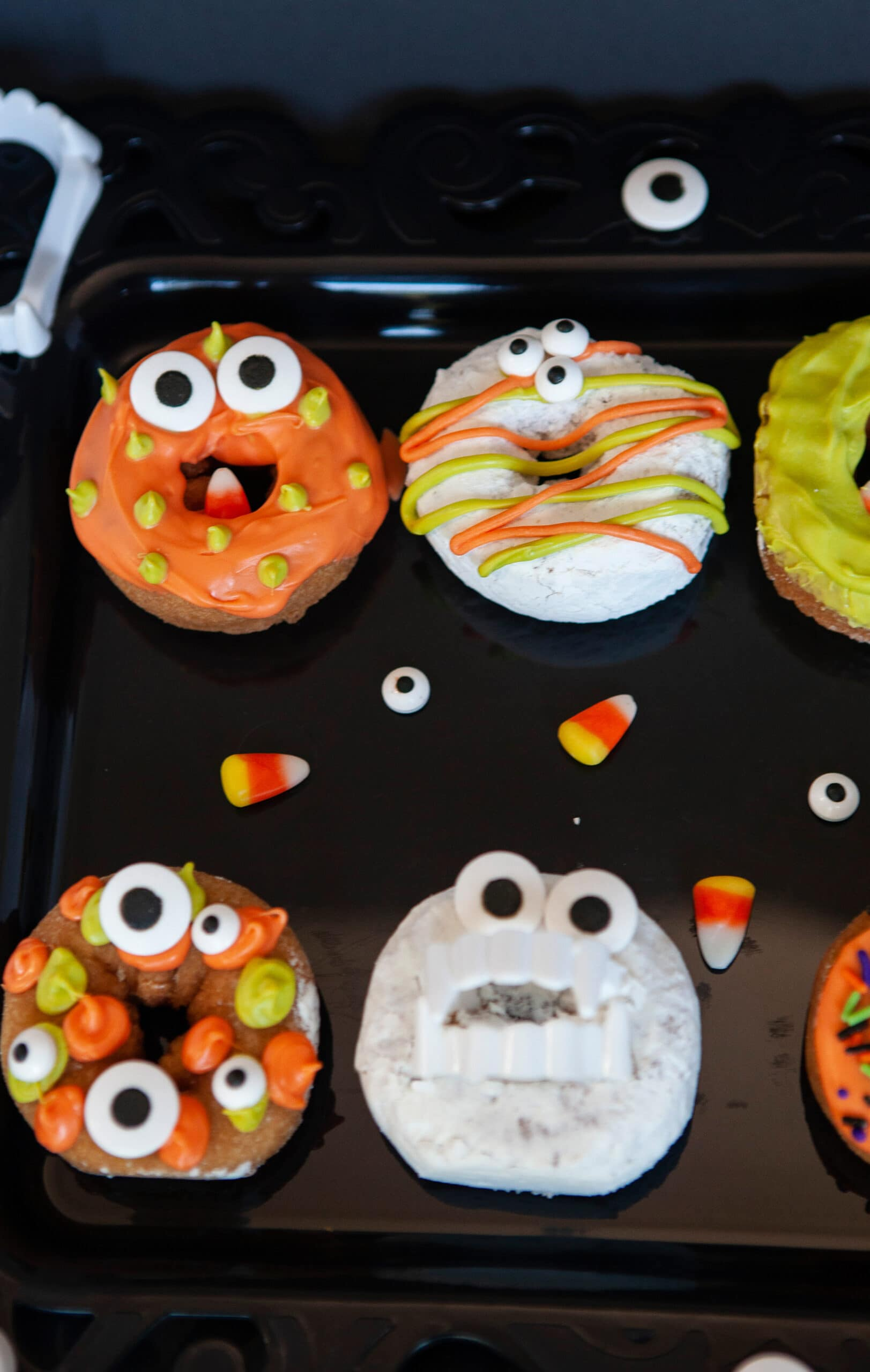 Monster Donuts Alien Eyes. Make these spooky cute Monster Donuts for your next Halloween event. Made with your favorite donuts as a base, you can create and decorate vampires, mummies, and other iconic edible Halloween monsters.