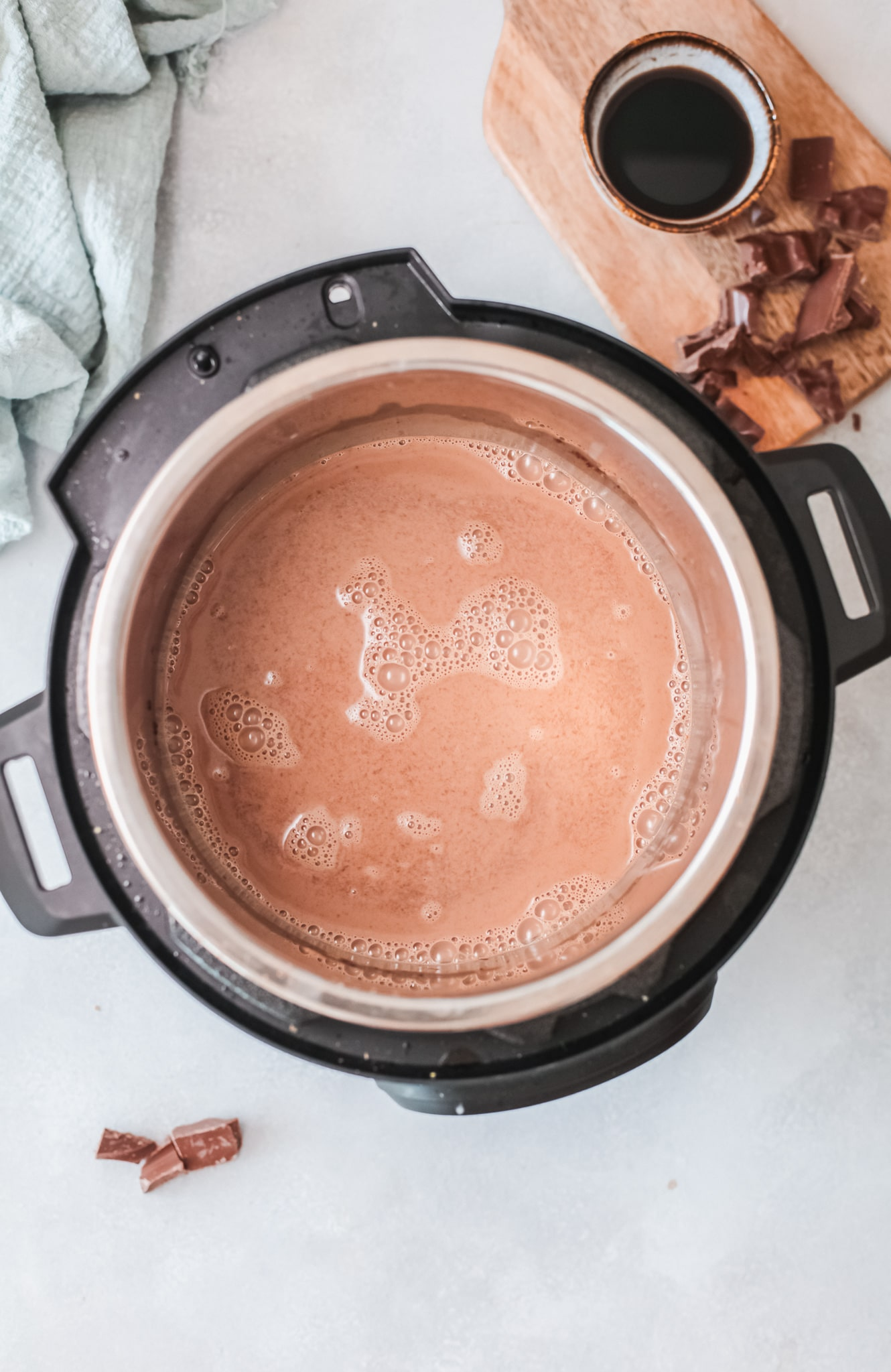 Instant Pot Salted Caramel Hot Chocolate. Silky smooth, creamy and decadent, this Instant Pot Salted Caramel Hot Chocolate is an instant family favorite. Made in either the Instant Pot or Slow Cooker this festive holiday drink is perfect for any occasion.