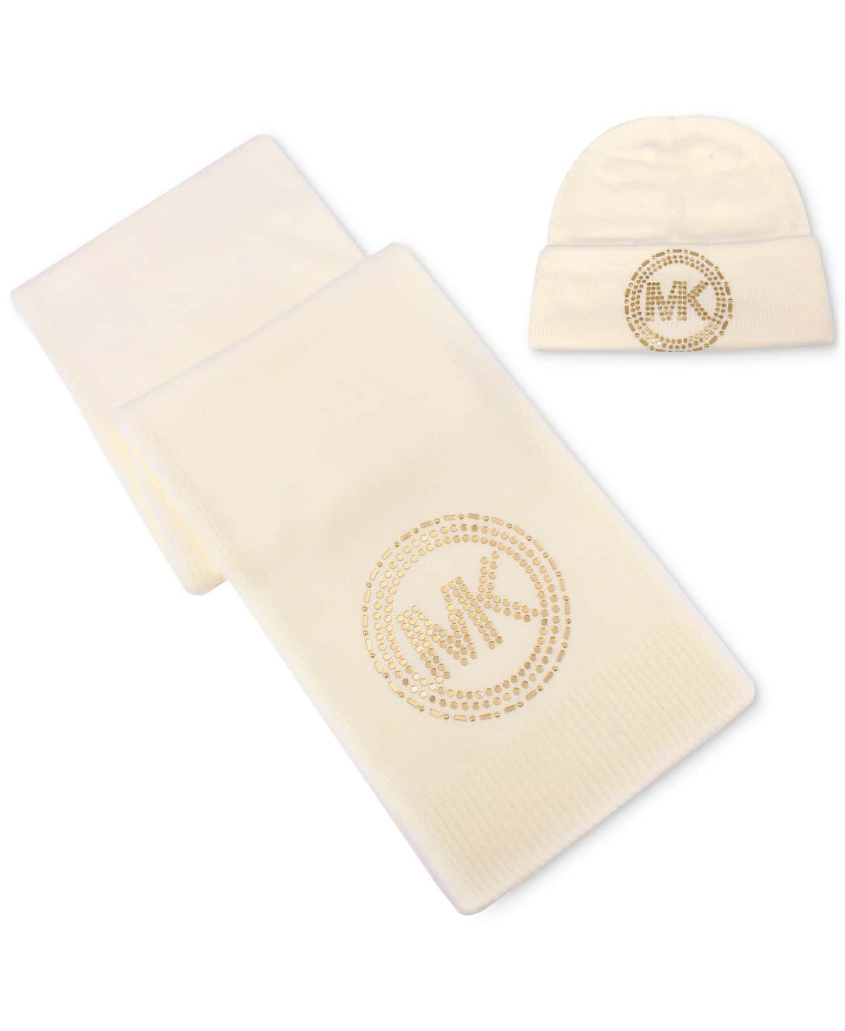 Michael Michael Kors' matching set brings a little bling and glamour to your looks with a hat and belly band finished with a mirror-studded MK logo.