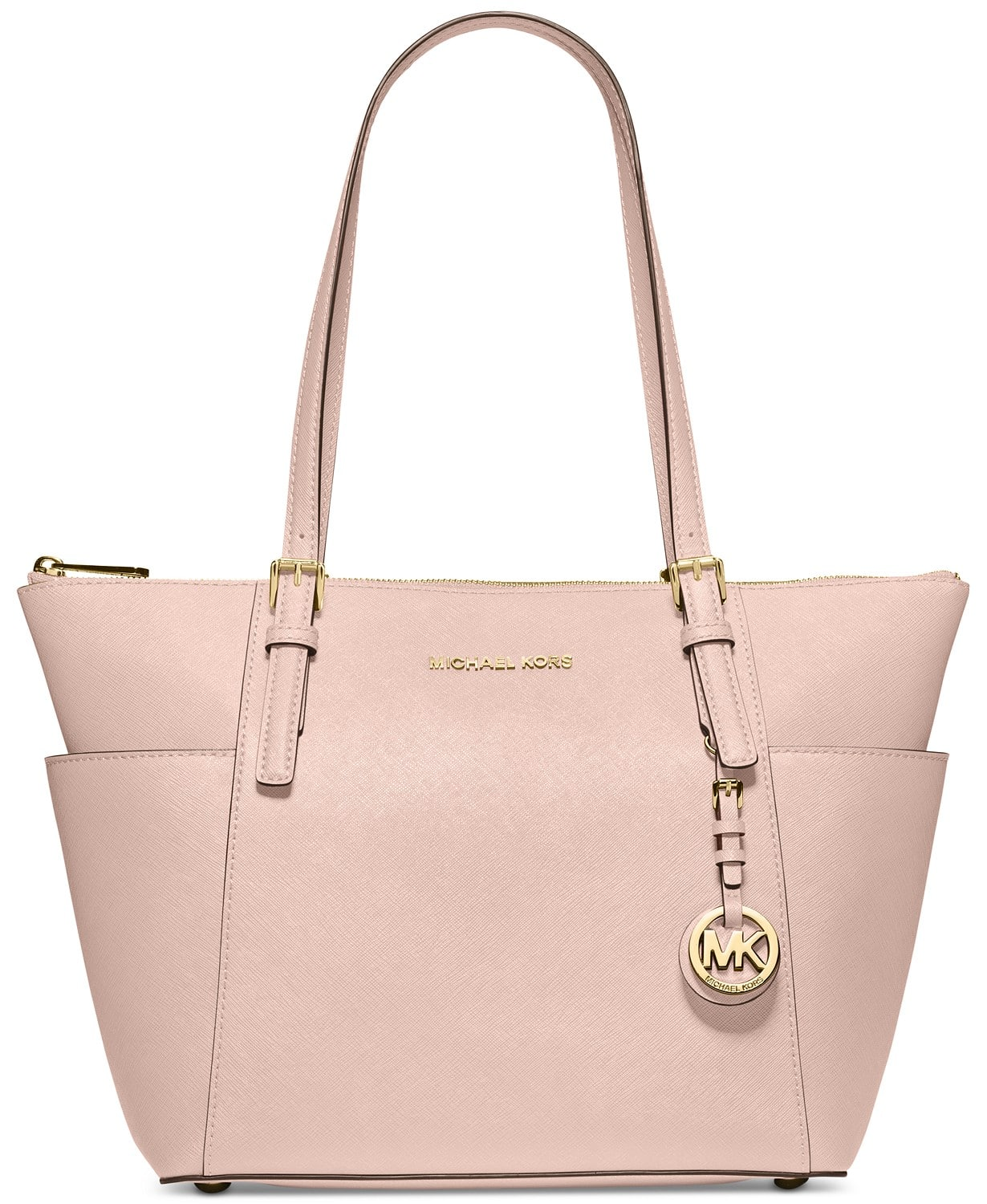 Textured leather, luxe hardware and elegant contours make the Jet Set East West large tote from MICHAEL Michael Kors the ultimate travel companion for any getaway.
