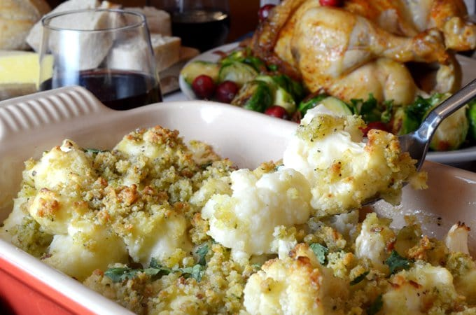 Easy and delicious, this cauliflower gratin is made with horseradish sauce and topped with fresh breadcrumbs and Asiago cheese.