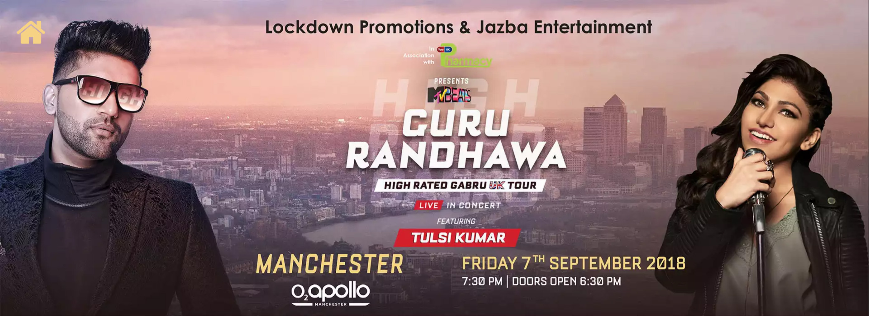 #GuruRandhawa Live for the first time in #Manchester on *7th September 2018* at #O2ApolloManchester. Feat. #TulsiKumar and Hosted by #NoreenKhan #LagdiLahoreDiAh #Highratedgabru