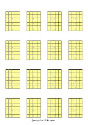 Printable blank guitar fretboard diagrams