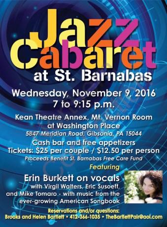Jazz Cabaret at St. Barnabas - November 9, 2016