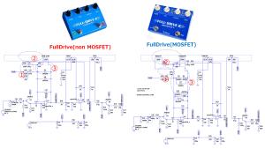 シミュレーションで学習: FullTone FullDrive2 MOSFET で更に進化した回路を確認した