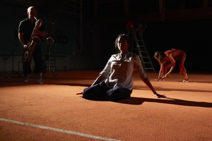 Mats Gustafsson (sax), Nayana Kesheva Bhat (dance), Almut Kühne (dance, voc), Bezau Beatz, Bezau, Photo (c) Ralf Dombrowski