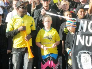 An anti nuclear march in Jeffreys Bay was a community affair.