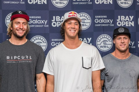 Owen Wright, Jordy Smith and Mick Fanning at the media launch of the JBay Open. Photo: Joey Nel