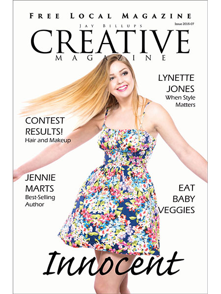Magazine cover. Girl spinning and swinging hair play Red Rosies