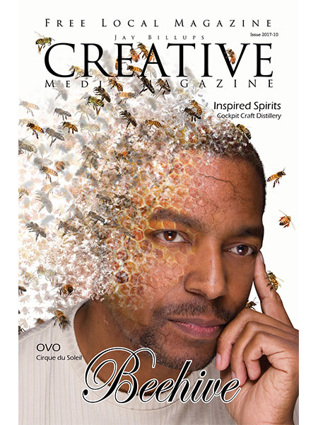 Magazine cover. Man's face disintegrating in live bees