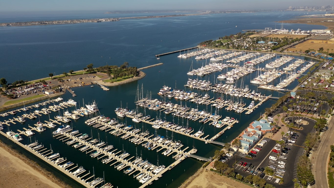 Aerial video of boats and sailboats docked in the Chula Vista Harbor in California