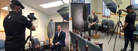 behind the scenes at a linkedin profile picture shoot