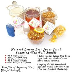 JBHomemade Natural Lemon Zest Sugar Scrub Sugaring Wax Full Bundle