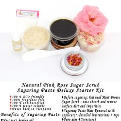 JBHomemade Natural Pink Rose Sugar Scrub Sugaring Paste Starter Kit