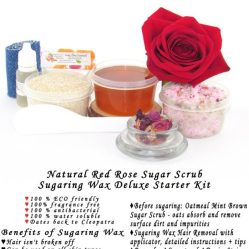 JBHomemade Natural Red Rose Sugar Scrub Sugaring Wax Starter Kit