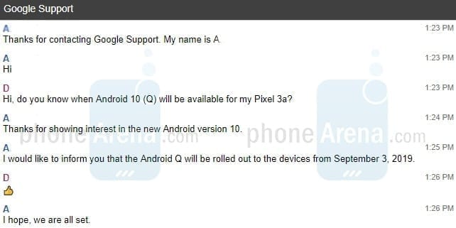 Android 10 releases on September 3.