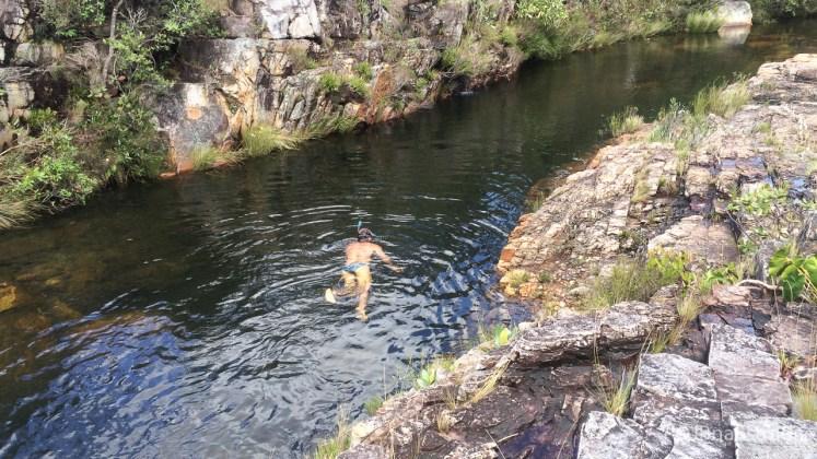 Brasil - Goias - Chapada dos Veadeiros - Cachoeira Almecegas I - Mergulho