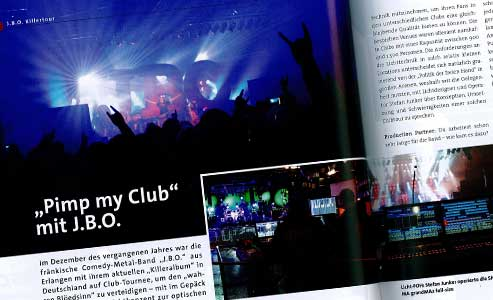 Das Licht bei der Killer Tour: Artikel in der Production Partner 03/2012