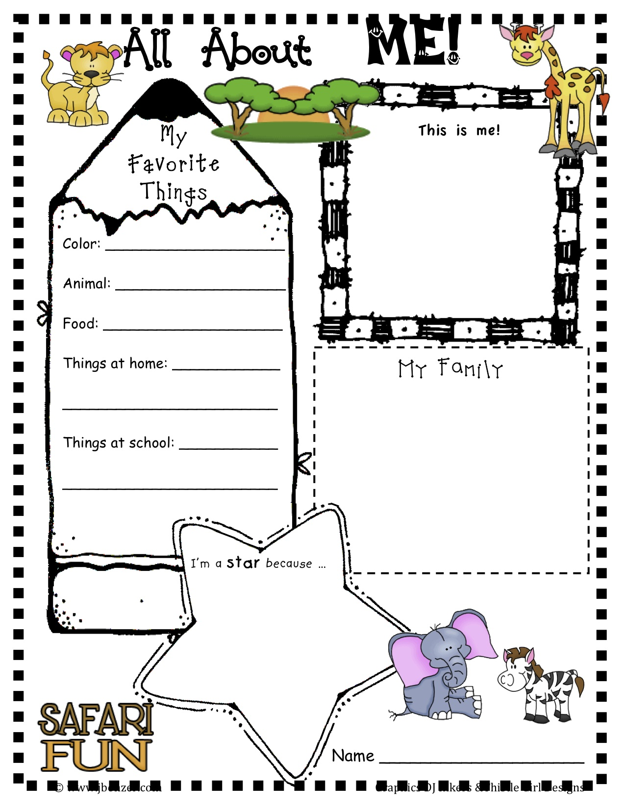 All About Me Back To School Worksheet For Prek