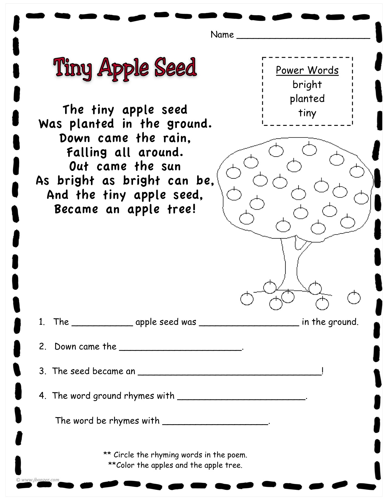 Johnny Appleseed Reading Comprehension
