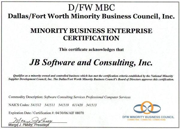 JB Software - Certification