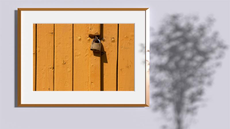 Wooden plank door steel lock Frame